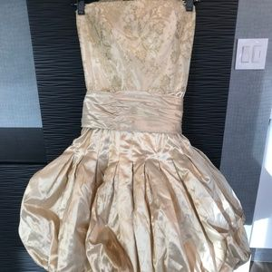 Anne Barge Strapless Raw Silk Gold Lace Dress